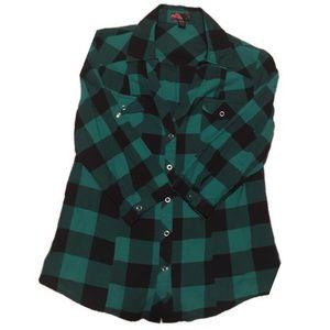 [Forever 21] Green Plaid Shirt